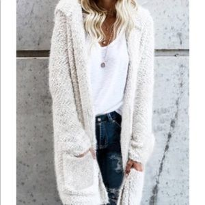 Sweaters - SOLD! Oversized button up fuzzy popcorn cardigan